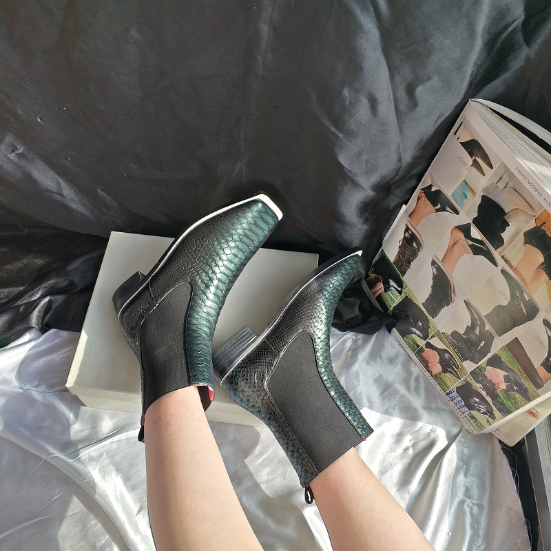 Chelsea Verde Botas Tobillo Dedos De Piel As Pic Zapatos Med Tacones Cuero Mujer Patrón Serpiente Los Vaca Pies wq1YxwZUR