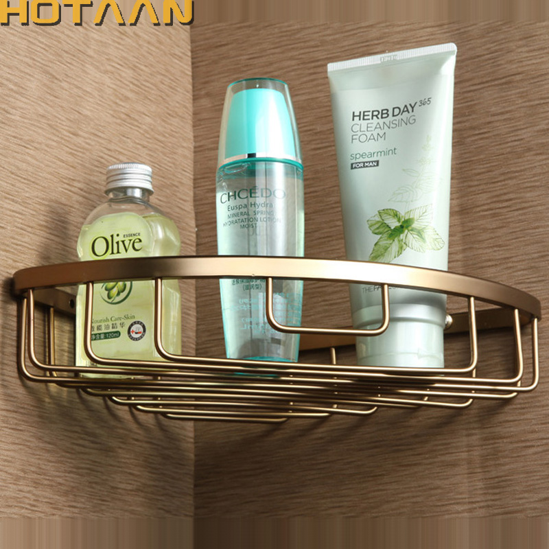 Free Shipping Wall Mounted Antique Finish Aluminum Bathroom Shower Shampoo Shelf  Basket Holder Fashion Single Layer YT-7018