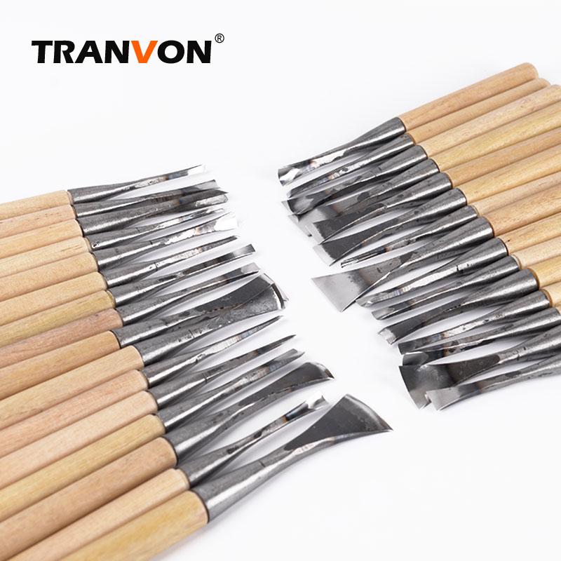 TRANVON 31pcs lot Quality Professional Carving Knife Wood Seal DIY Hand Chisel Knives Craft Tools Set