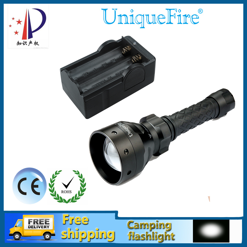 UniqueFire UF-1406-XP-G LED Flashlight 3W Zoomable 5-Modes Camping Powerful Torch 18650 Battery+Two Slot Charger Free Ship uniquefire portable led flashlight uf 1406 cree xp e zoom 3 modes w g r light rechargeable 18650 flashlight with remote pressure