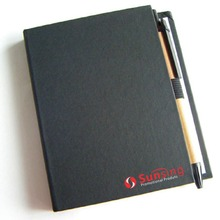 [free logo+ free shipping] multiple function black hard cover notepad with small& big size of sticky note, pen included блокнот