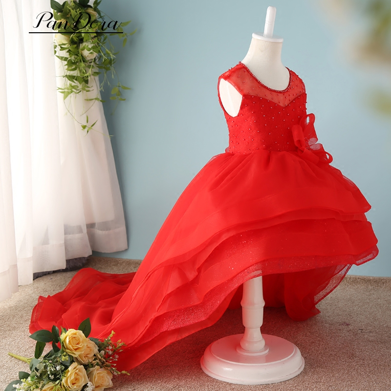 Girl Moderator Host Costumes with Bow Handmade Princess Dresses Kids Stage Performance Clothing Ball Gown