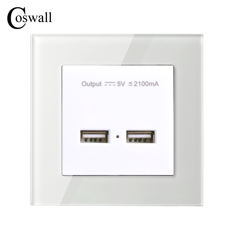 COSWALL Wall Power Socket Dual USB Charging Port For Mobile 5V 2.1A Output Charger Adaptor Crystal Tempered Glass Panel bullet charger dual usb adaptor 2 port