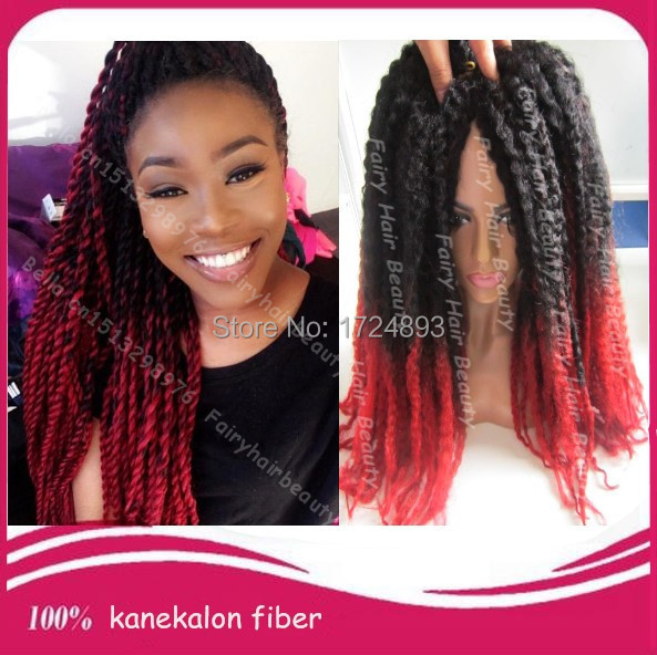 Top Quality 20 Fold Two Tone Black Red Synthetic Marley Twist Hair