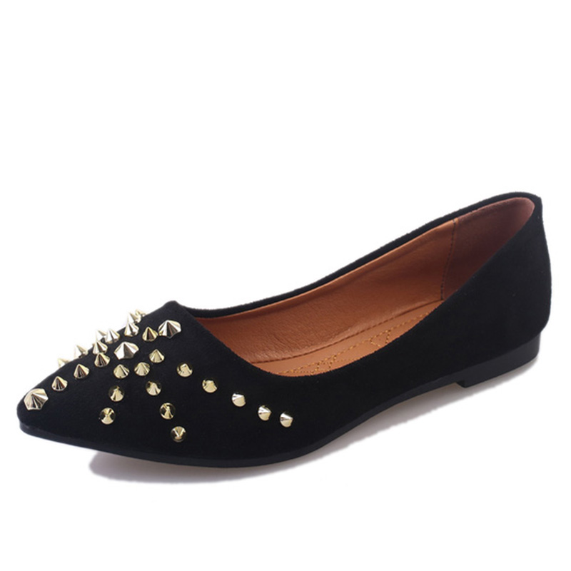 Fashion Flats Woman 2017 New Arrival Rivets Decoration Pointed Toe Women Shoes High Quality Suede Comfortable Flat Shoes 2017 fashion women shoes woman flats high quality casual comfortable pointed toe rubber women flat shoes plus size 35 42 s097