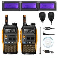 2pcs Baofeng GT 3TP MarkIII VHF/UHF Dual Band FM Ham Walkie Talkie Two way Radio Transceiver with Speaker Programming Cable