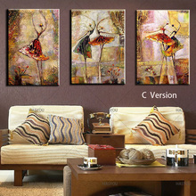 Abstract Oil Painting Modern 100% HandPainted dancing girls home Decor For Living Room hotel 3pcs Set abstract Picture unframed