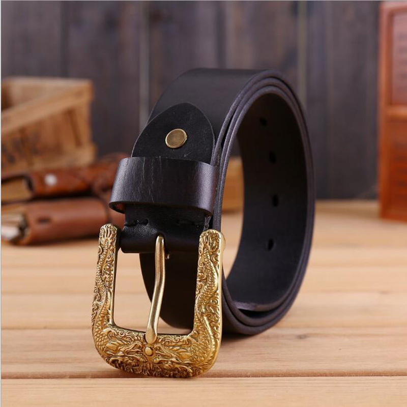 Smart 2019 Men Chinese Style Dragon Genuine Leather Belt High Grade Cowskin Belts Male Luxury Jeans Belt Quality Guarantee Xks065 Choice Materials Apparel Accessories