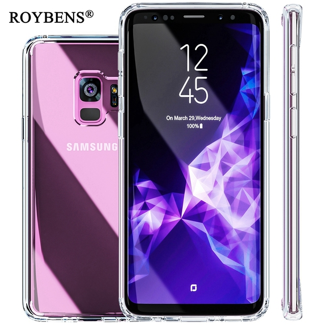 reputable site f78a3 69582 US $3.49 30% OFF|Aliexpress.com : Buy For Galaxy S9 Plus Case Roybens  TPU+Acrylic Transparent Clear Cover For Samsung Galaxy S9 Hard Thin Hybrid  Armor ...
