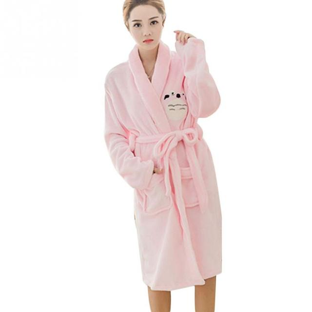 Autumn Winter Models Cartoon Flannel Robes Men and Women Lovers  Thickening  Loose Home Service Pajamas 66b38bd4c
