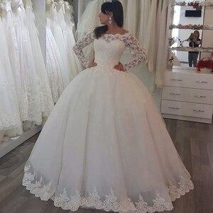 Image 3 - Vestido de noiva 볼 가운 공주 웨딩 드레스 긴 소매와 페르시 숄더 신부 가운 로브 드 mariage
