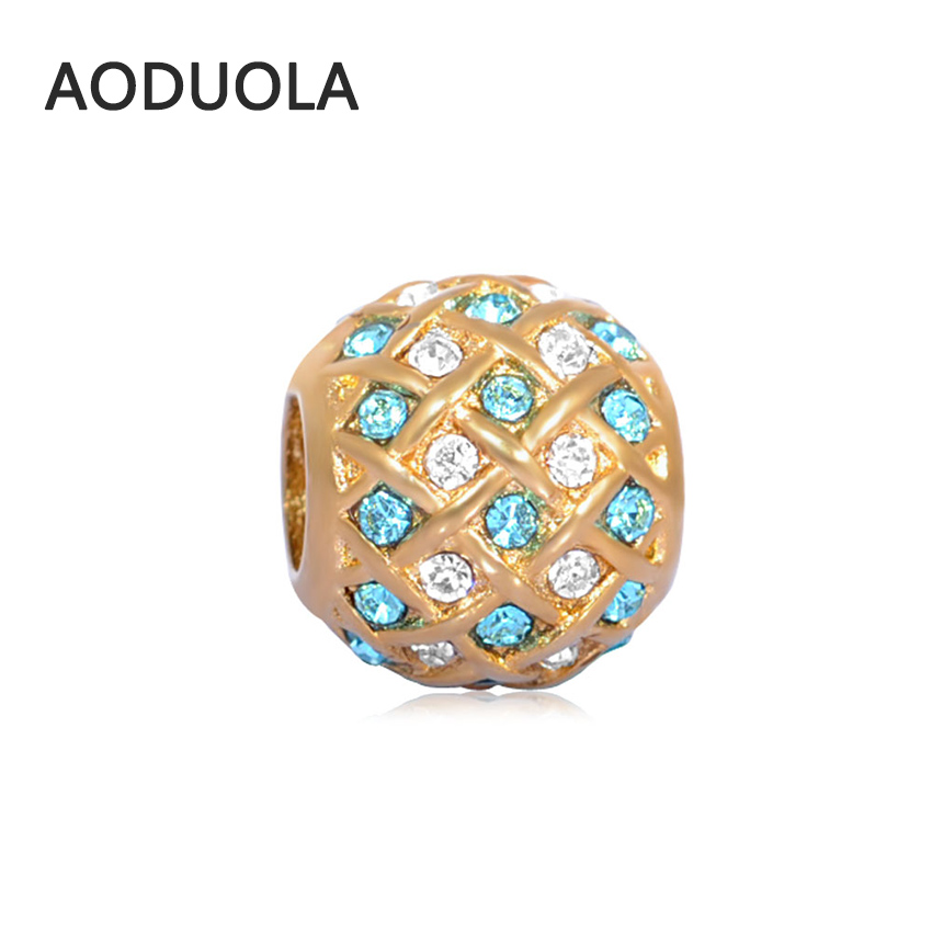 2Pcs Lot Stainless Steel Square Gold color with sky blue CZ Beads DIY Big Hole Bead for Jewelry Making Fit For Pandora Bracelet
