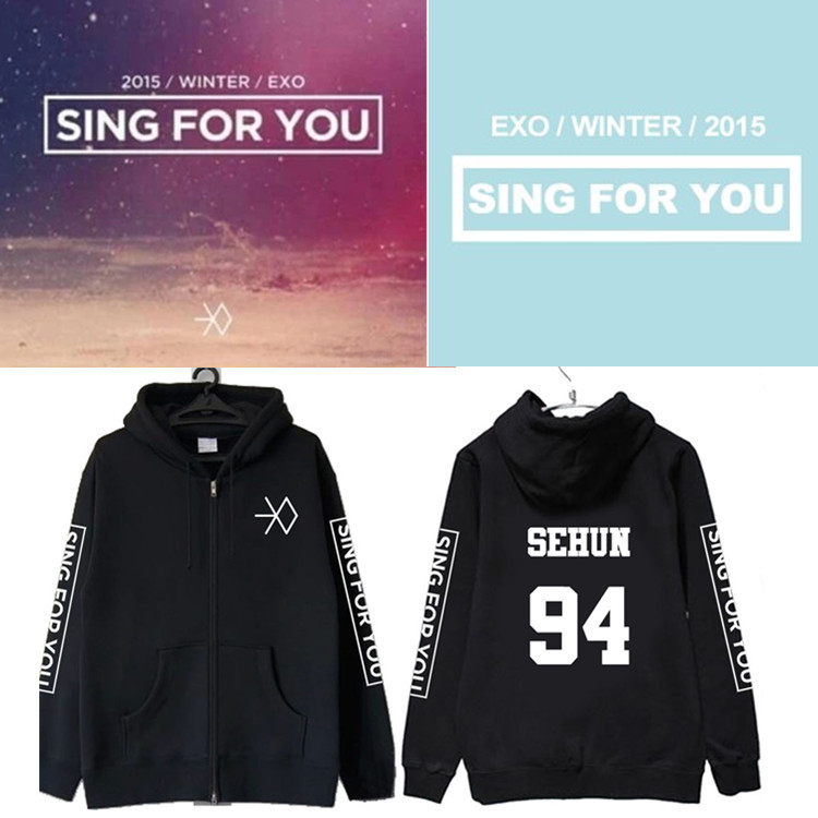Autumn winter kpop exo 2016 winter sing for you member name printing black hoodies fashion zipper exp jackets plus size outwear