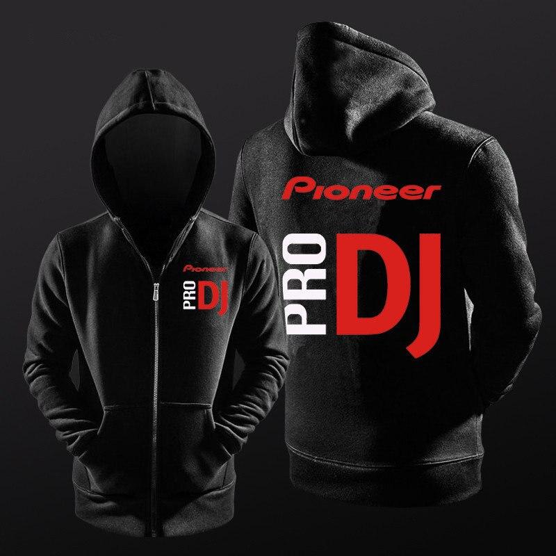 Pro PIONEER Pioneer DJ autumn and winter hoodies nightclub DJ men and women hoodie zipper cardigan plus velvet sweatshirt