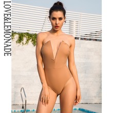 LOVE&LEMONADE Love Lemonade Deep V-Neck Slim Body Beach bodysuit LM1173