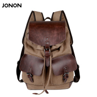 High Quality Vintage Fashion Casual Canvas Microfiber Leather Women Men Backpack Backpacks Shoulder Bag Bags For