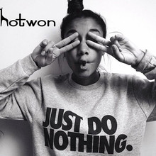 Hotwon 2017 Fashion Women Hoodie Sweatshirts Pullover Hooded Loose Tops Female Sudaderas Mujer Casual Gray/Black Hoodies