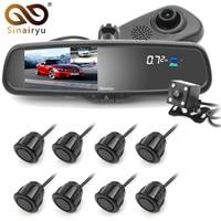 Sinairyu 3 в 1 автомобильные 5 ips ЖК дисплей DVR Экран зеркало монитор Двойной объектив заднего вида Камера 1080 P с спереди/сзади 8 датчики парковки