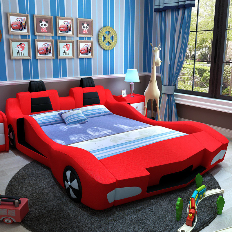 Children's Bed, Automobile Leather Bed, Cartoon Competition, Sports Car, 1.5 Meters, 1.2 Meters bed