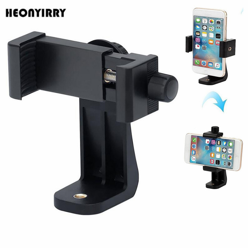 360 Degree Rotation Tripod Mount Holder Cell Phone Stand Bracket Clip Mount Bracket Adapter for Mobile Phones Smartphone 360 degree rotation chuck cell phone holder mount bracket adapter clip with 1 4 screw for 54mm 102mm phone vertical