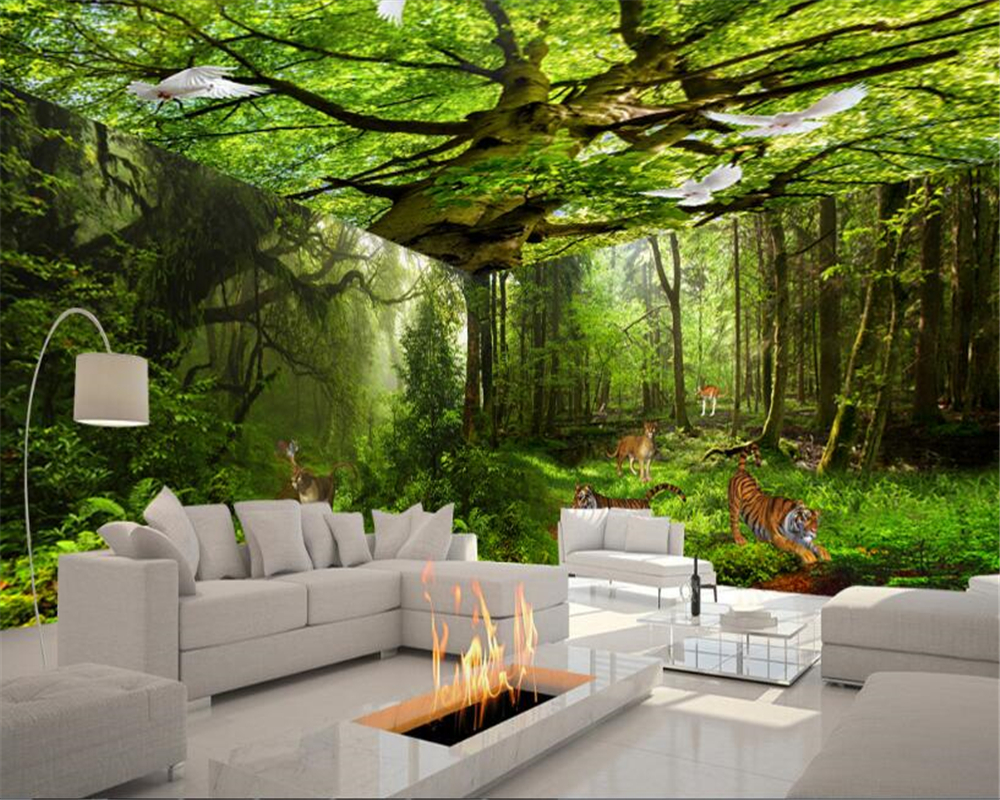Us 8 4 44 Off Beibehang Fashion Personality Aesthetic Wallpaper Green Forest 3d Theme Space Background Wall Papel De Parede 3d Papier Peint In