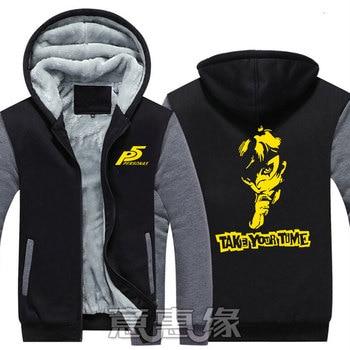 New Winter Jackets Coats Persona 5  hoodie Anime p5 Joker Hooded Thick Zipper Men Sweatshirts