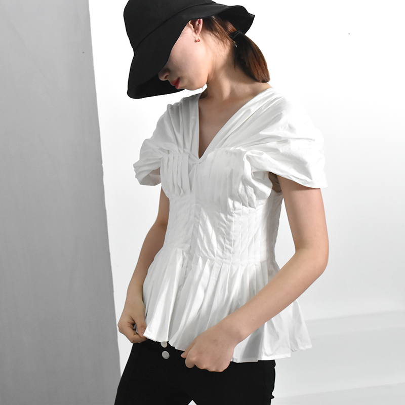 [EAM] 2018 Autumn Summer New Fashion Solid Sexy V-neck Collar Short Sleeve Ruffles Casual Slim All-match Women Shirts RA212