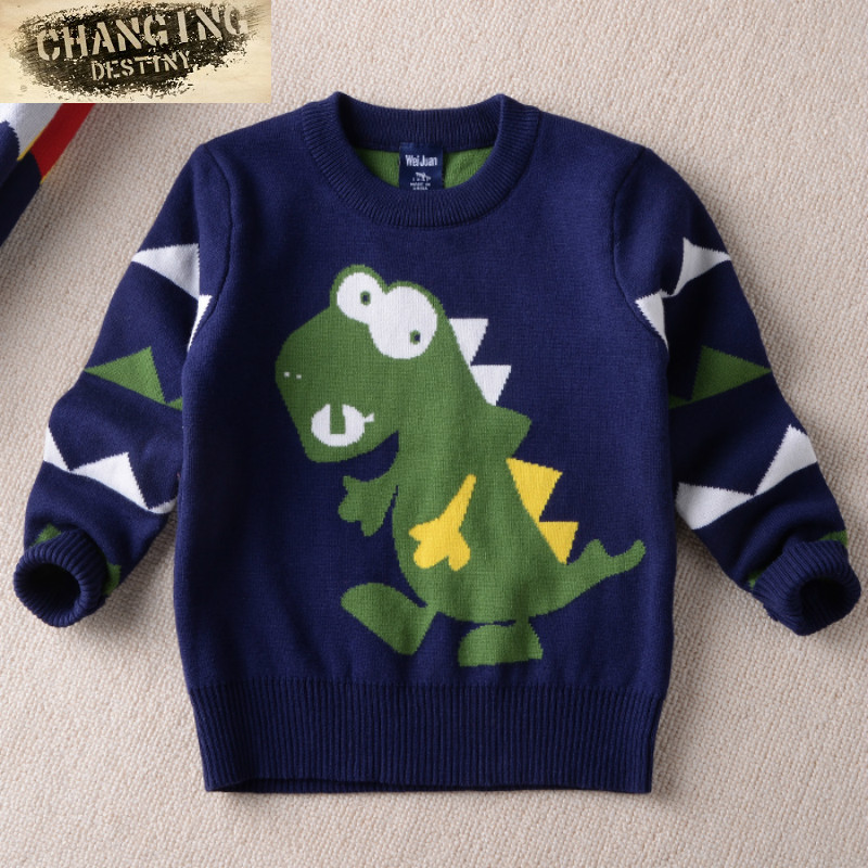 цена на Spring and Autumn New Children's Sweaters Boys Sweaters Dinosaur Round Neck Pullover Double Thicken Warm Cartoon