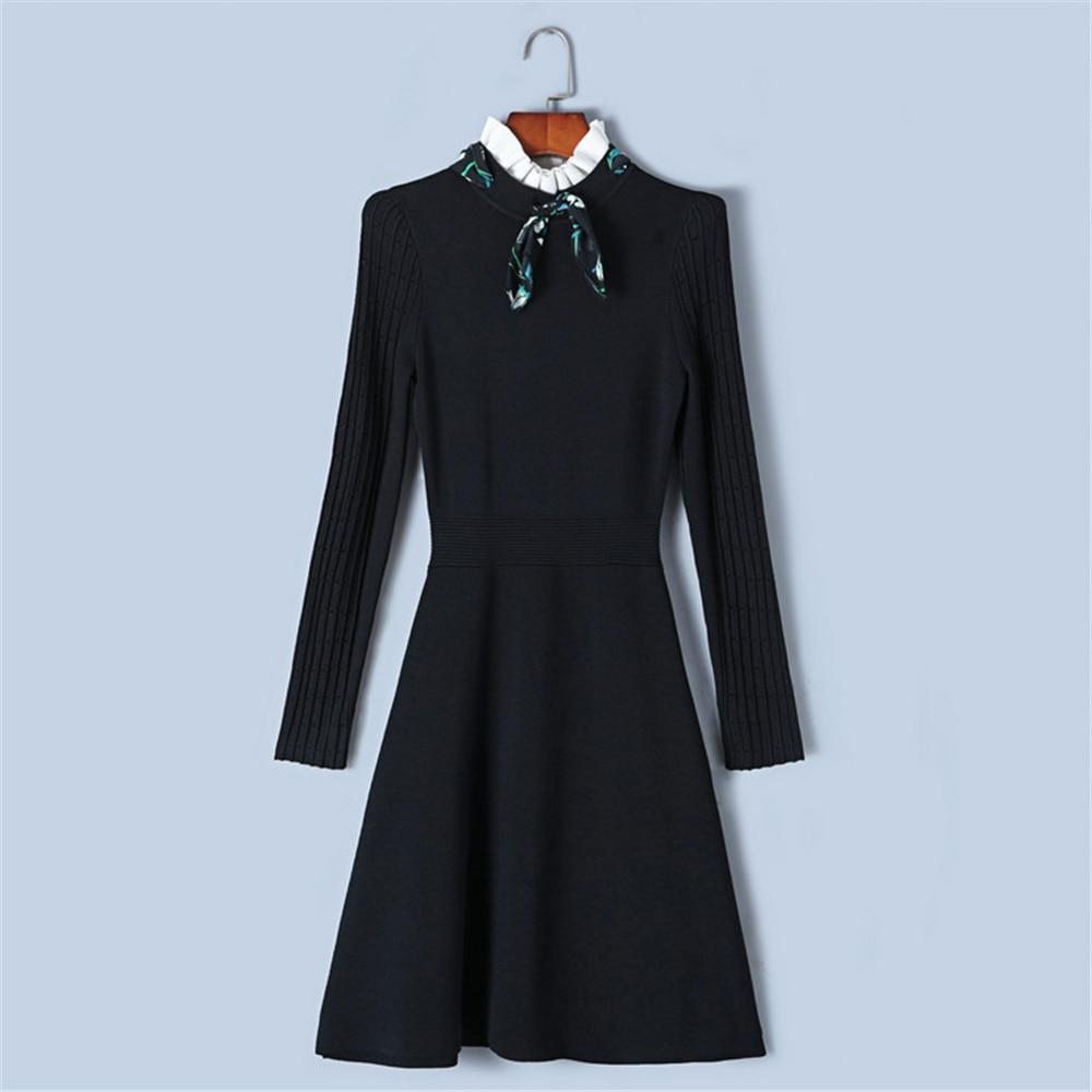 Tunjuefs Design Hollow Out Dress Women Long Sleeve Pullover Sweet Summer Robe Good Elastic Dress Knit
