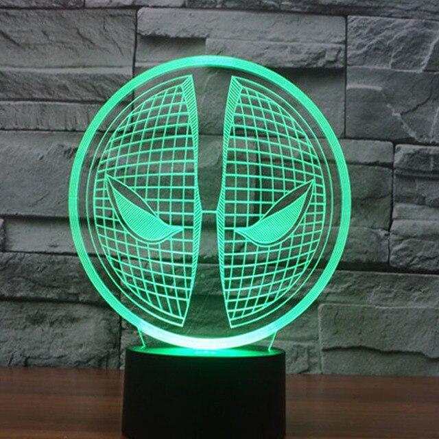 Дэдпул 3D LED Творческая атмосфера настольная лампа игрушки 2016 Новый 7 изменение цвета