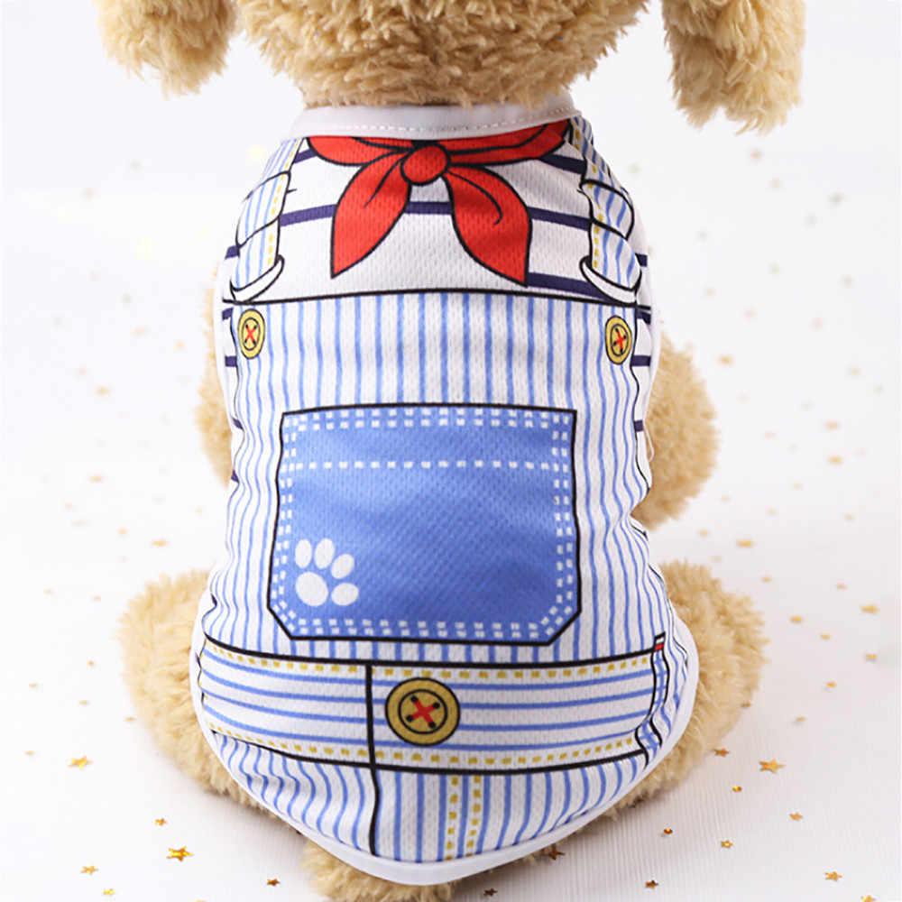 Chalecos para perro mascota de verano moda cachorro perro gato chaleco camisa falsa Correa buen aspecto ropa para perros chien chemises # A