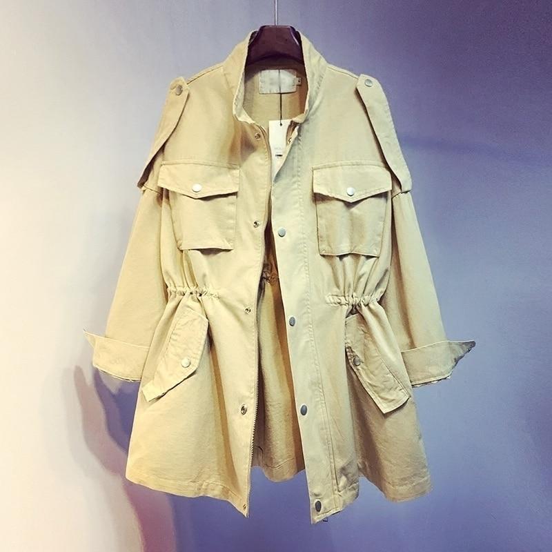 LANMRME Autumn New Pattern Korean 2018 Pockets Work Clothes Windbreaker Long Sleeve Drawstring High Waist Thin