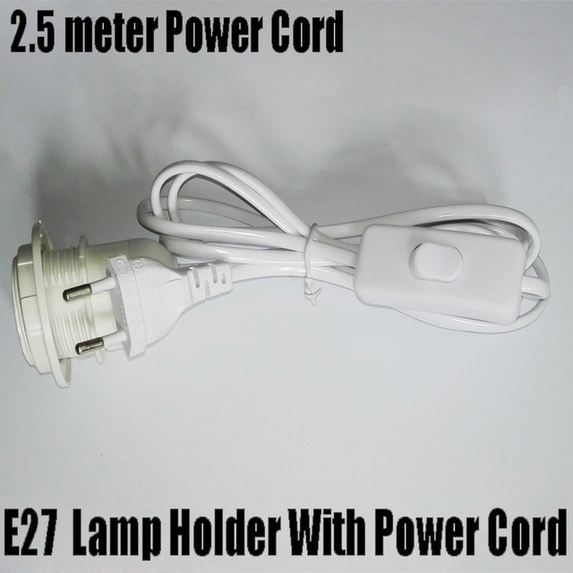 E27 Base with 2.5m Power Cord Half Spiral E27 Lamp Holder, Round Plug and Switch, No Greater Than AC250V 2.5A