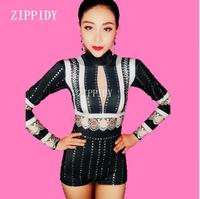 Black White Rhinestones Stretch Bodysuit Women One piece Sexy Dance Long Sleeves Leotard Stage Dance Costume
