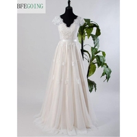 Ivory Lace Champagne Satin V Neck A line Wedding dresses Cap sleeve V back Beading Bridal gown Lace with Tulle
