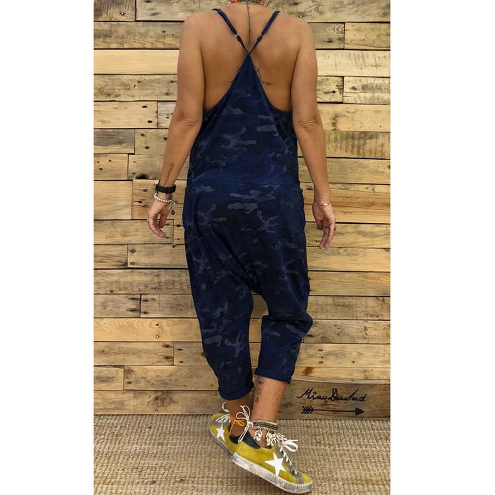 נשים Camo מודפס Clubwear Playsuit בגד גוף מסיבת סרבל Romper הסוואה רצועת כיס הרמון ארוך מכנסיים סרבל רופף