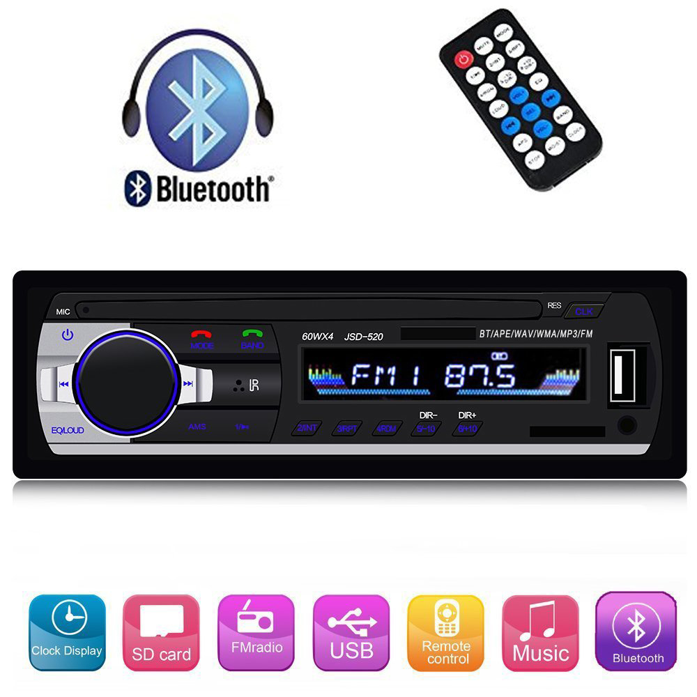 Bluetooth Audio Receiver MP3 Player FM Radio 1 Din in Dash USB/SD/AUX Car Electronics with Remote Control Car Stereo Player 12V-in Car Radios from Automobiles & Motorcycles