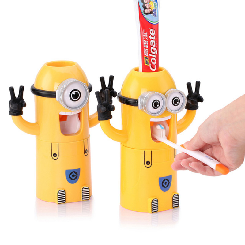 1PCS Bathroom Automatic Toothpaste Toothbrush Storage Rack Children Couple Teeth Cartoon Toothbrush Holder 3 In 1 Mouth Cup Set