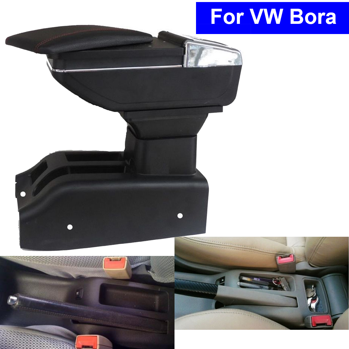 Leather Car Center Console Armrest Storage Box for Volkswagen VW Bora 2001 2006 2007 2008 2009