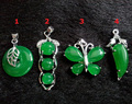 Beautiful Natural Green Jade Carved Buckle Beads Butterfly Water Drop Pendants Chain Necklace free ship Pretty Lady's Jewelry