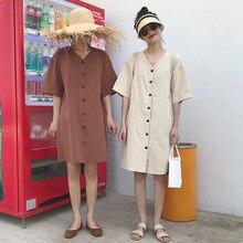 58623ae29 Mihoshop Ulzzang Coreano Coréia Mulheres Moda Roupas de Verão Básico Solto  Casual Vestido de Manga Curta