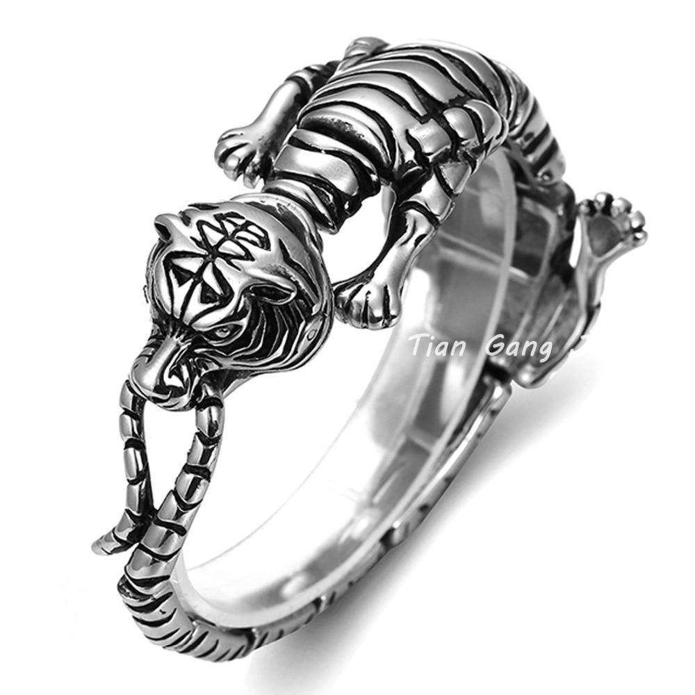 21CM High Quality 316L Stainless Steel Mens Cool Tiger Bangle Biker Bracelet Punk Animal Jewlery 30MM Width 71G Weight