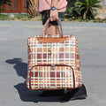 KUNDUI Plaid suitcase women travel trolley bag, new style, PU leather luggage bags, maletas,lock,mute multicolor free shipping
