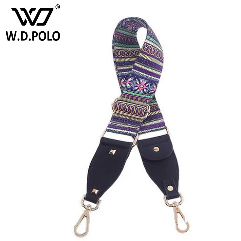 WDPOLO New handbags strap striped design national gold buckle canvas bag straps chic adjust flower long shoulder strap C021