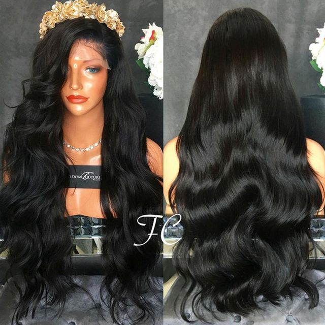 Youtube Body Wave Synthetic Lace Front Wig With Baby Hair Black Hair