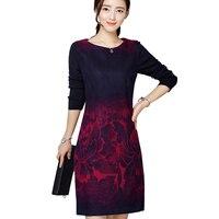 Large Plus Size 5XL Women S Knitted Woolen Dress Long Sleeve Round Neck Warm Autumn Dresses