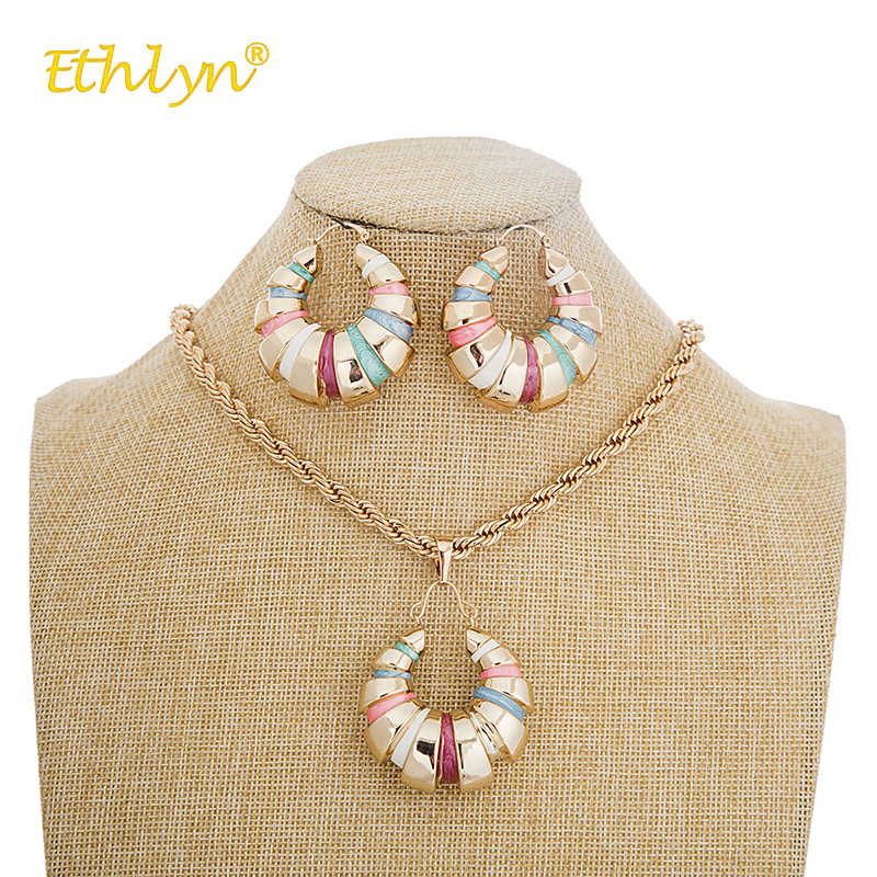 Ethlyn 2018 African/Nigerian Jewelry Set for Women Hit Colorful Spiral Round Pendant Earrings Necklace Rose Gold Jewelry Sets