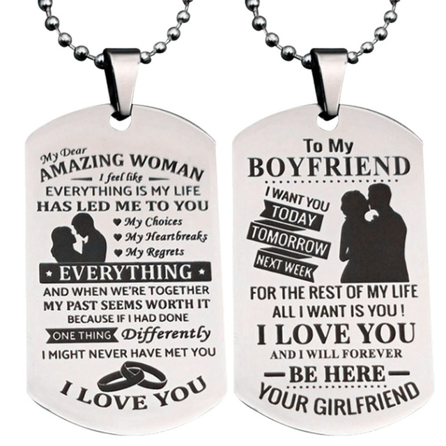 To My Girlfriend Wife Boyfriend Stainless Steel Pendant Necklace Dog Tag Birthday Gift Romantic Loverly Anniversary Jewerly