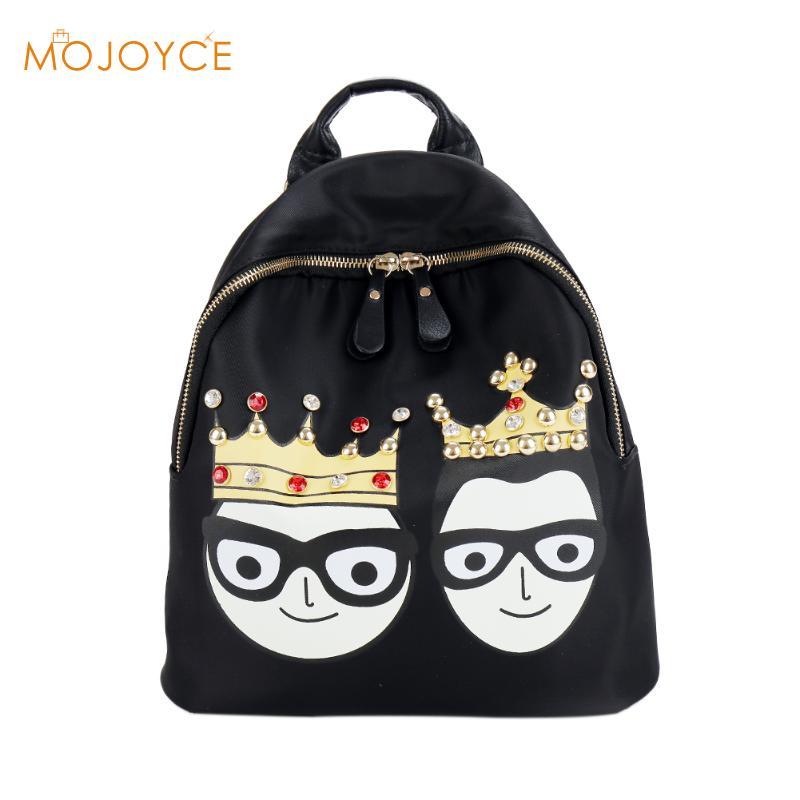 Fashion Women Backpack Big Crown Cartoon Printing Backpack Women Leather Backpacks High Quality Girls School Bags Mujer Mochilas