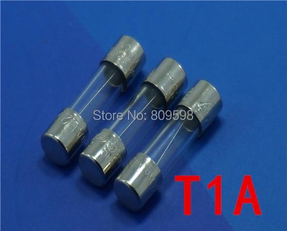 100 Pcs Glass Fuse 5 x 20mm 5x20 T1A 250V Slow Blow